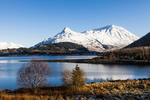 The Pap of Glencoe and Mam na Gualainn above Loch Leven. The view is from from Ballachulish, Lochaber, in the Highland Region, Scotland