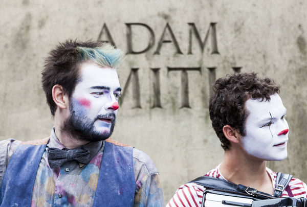 Two performers from The Human Zoo Theatre Company in the Royal Mile during the 2015 Edinburgh Fringe Festival, Scotland