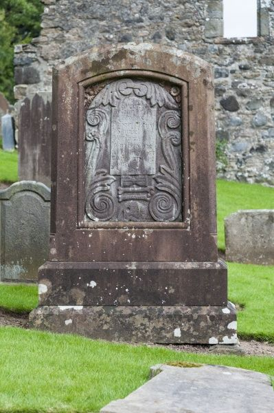 The gravestone of Robert Burns` mother`s family at Kirkoswald Old Parish Church in Kirkoswald, South Ayrshire, Scotland